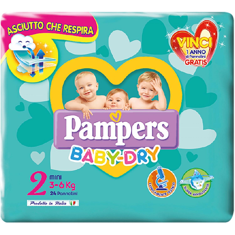 Image of Pampers Baby Dry Luiers Mini maat 2, 3-6 kg, 24 stuks