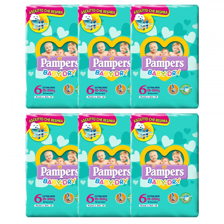 Image of Pampers Baby Dry ExtraLarge Windel Kit 15-30 Kg maat 6 - 6 Packungen mit 14 stuks