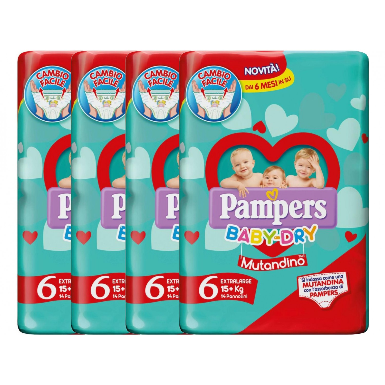 Image of Pampers Baby Dry Windel Kit 15+ kg Unterhose maat 6 - 4 Packungen à 14 stuks